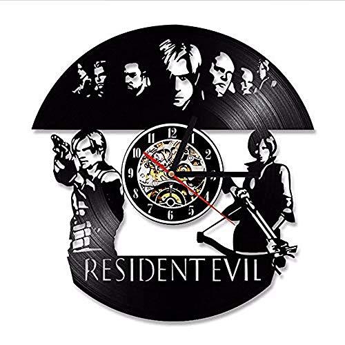 Resident Evil Wall Clock Diseño Moderno Tema de la película Estilo Vintage Retro Vinyl Record Relojes Reloj de Pared Decoración para el hogar Silent 12