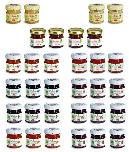 Rigoni di Asiago - Colazione Biologica Assortimento Monoporzione in 11 Varietà: 8 Gusti Marmellate Fiordifrutta + 2 Gusti MielBio + Nocciolata, 32 Pezzi Totali da 25 Grammi Ognuno.