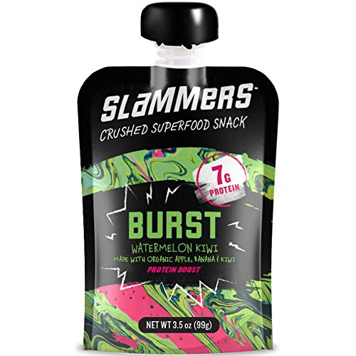 Organic Slammers Superfood Fruit Snack (24 Pouches) BURST Fruit & Veggie Squeeze Pouches | Apples, Bananas, Watermelon, Kiwi, Whey Protein Isolate | Gluten Free | More than just apple sauce!