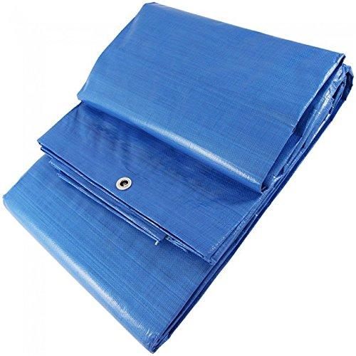 WURKO 355266-Telone rafia 6 x 10: blu, con occhielli