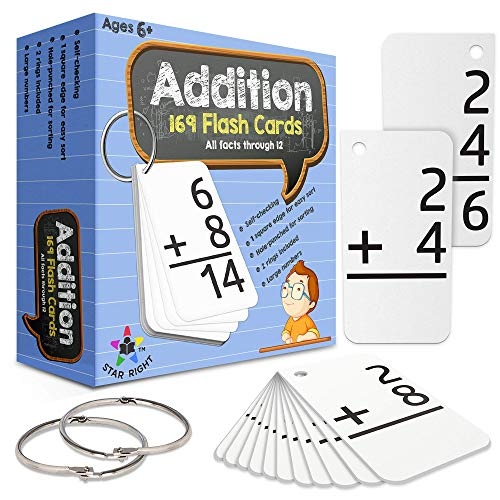 Star Right Education Addition Flash Cards, 0-12 (All Facts, 169 Cards) With 2 Rings