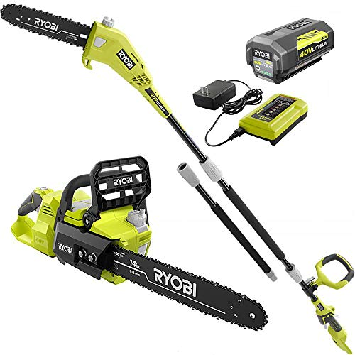 RYOBI RY40530-PS 14 in. 40-Volt Brushless Lithium-Ion Cordless Chainsaw and 10 in. Cordless Pole Saw, 4 Ah Battery and Charger Included