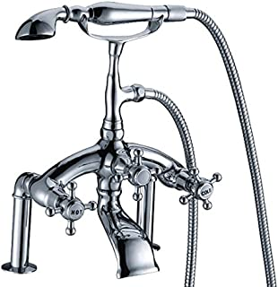 JinYuZe Luxury Clawfoot Bathroom Tub Bathtub Bath Faucet with Hand Shower Freestanding Tub Filler Faucet, Vintage Design with Telephone Style, Polished Chrome Finish