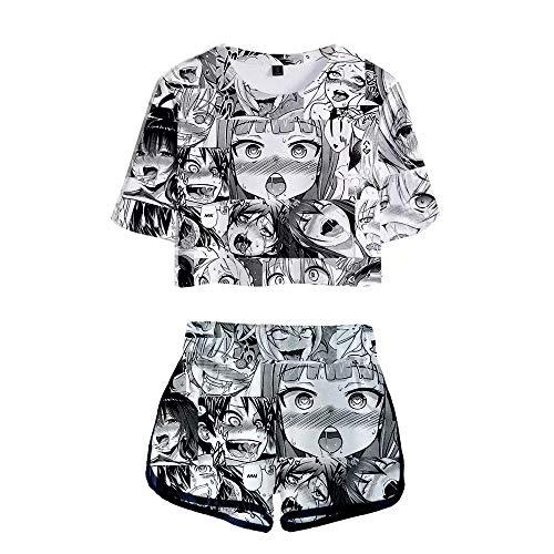 2-teilige Ahego-Outfits für Damen Kurzarm-Crop-Top und Kurze Hosen-Sets Ahegao-Rock Lässiges Sommerkleid für Damen