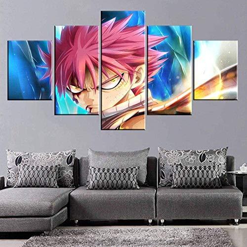5 Piezas Lona Murales Cuadro Moderno Lienzo Fairy Tail Anime Modular Arte Pared Alta Definición Pintura Decorativa Home Dormitorio Óleo Lona Pintura Mural Regalos(Enmarcado)
