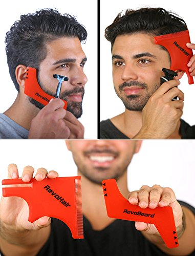 RevoBeard & RevoHair - Beard Shaping & Haircut Tools - Hairline Lineup Edge up Template Set - Stencil Guide for Trimming Beard, Mustache, Goatee, Neckline - Barber Supplies - use w/ Clippers or Trimmers - Men's Grooming Kit