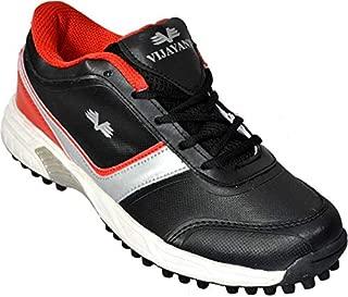 Vijayanti Predator Rubber Spikes Cricket/Hockey Shoes for Men (Black Red)