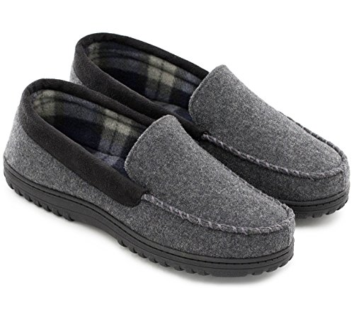 HomeTop Men's Indoor Outdoor Wool Micro Suede Moccasin Slippers House Shoes (44 (US Men's 11), Dark Gray)