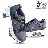 ZHANGJUN Inline-Rollschuhe, 2-in-1-mehrzweckschuhe, Multifunktionale Freizeitschuhe Mit Sneakers...