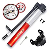 DOKO-IN Mini Bike Pump with Gauge,Frame Mount Bicycle Tire Pump with Flexible Hose,Presta Schrader Compatible Hand Bike Pump,210 PSI Capacity,1 Year Warranty