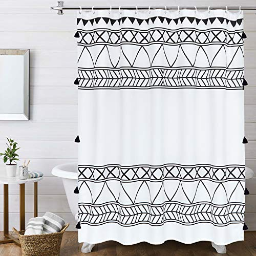 LIVEBOX Boho Shower Curtain,72x72 Inches Black and White Fabric Tassel Stripes Geometric Shower Curtain Set with Hooks Chic Tribal Bathroom Decor Accessories Heavy Weighted and Waterproof
