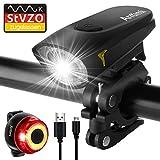 Antimi Sport Fahrradbeleuchtung LED Set, StVZO USB Wiederaufladbare Fahrradlicht Set 2 Leuchtmodi, wasserdichte Fahrradlampe Fahrrad Licht Set Superhelle für Nachtfahrer, Radfahren und Camping