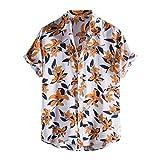 Momina Camisa de playa de flores hawaianas para hombre con estampado de calle, manga corta