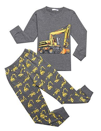 Bricnat Schlafanzug Jungen Langarm Baumwolle Pyjama Kinder Zweiteiliger Nachtwäsche Set Dinosaurier,Hai, Sternenhimmel, Feuerwehrauto,Bulldozer 3-11 Jahre Dunkelgrau 140