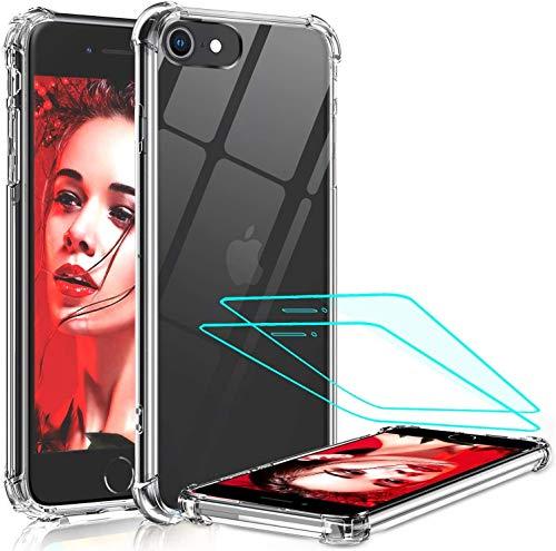 LeYi per Cover iPhone SE 2020 con 2 Pellicola Protettiva in Vetro Temperato, Antiurto Silicone Trasparente Custodia Rigida PC Bumper TPU Smartphone Case per Originale Apple iPhone SE 2020