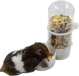 小動物用 自動 給餌器 給水器 ゲージに設置 エサ入れ お皿 ハムスターやフ 水やり 軽量 (ホワイト)
