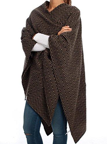 VILA CLOTHES Damen Poncho Visemper, Gr. One size, Mehrfarbig (Beige/Sand/Black Pattern:W. DUSTY CAMEL)
