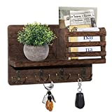 Wooden Mail Sorter Organizer with 4 Key Hooks Wall Mounted, Rustic Entryway Mail Envelope Organizer Holder with 4 Double Key Hooks and A Floating Shelf, Perfect for Entryway, Kitchen, Mudroom, Hallway