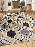 Contemporary Geometric Stripe Non-Slip (Non-Skid) Area Rug 8 x 10 (7' 10' x 10') Yellow