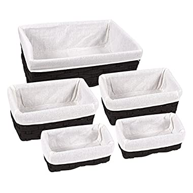 Juvale Storage Baskets - 5-Piece Nesting Baskets, Black Storage Containers - Storage Bins Set – Decorative Organizing Baskets for Shelves, Kitchen, Bathroom, and Bedroom - 2 Small, 2 Medium, 1 Large