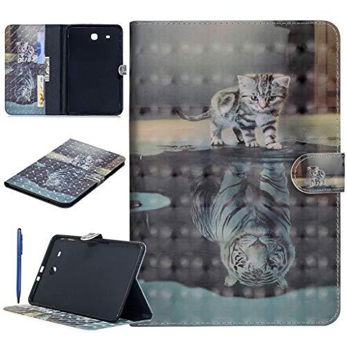 Careynoce 3D Emboss PU lederen Flip portemonnee beschermhoes voor Samsung Galaxy Tab E 9.6 SM-T560 M07