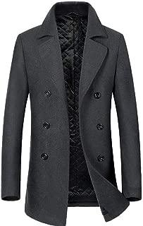 Men's Clothing Men's Woolen Coat, Winter Long Woolen Coat Men's Windbreaker, Lining Plus Cotton, Anti-Pilling/Wind Wrinkle/Washable (Color : Gray, Size : S) Clothing Autumn and Winter