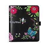 Rubywoo Diario di viaggio Composizione Notebook Rotondo Raccoglitore ad anelli Bottone Filofax Organizzatore Memo personale (A5, RICAMO nero)
