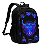 asfg Resistente a Las Manchas Taurus Sign Multifunctional Personalized Customized USB Backpack, Student School Outdoor Backpack,Travel Bag Laptop Bookbags Business Daypack.