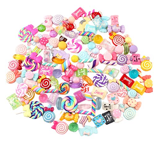 100 Pcs Slime Charms, Mixed Candy Lollipop Slime Charms Sweets Resin Flatback Slime Beads for DIY Scrapbooking Crafts