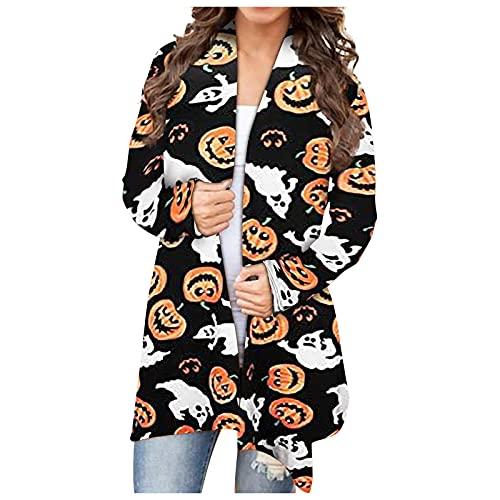 Mujeres Halloween Animal Gato Calabaza Print Cardigan Otoño Capa Blusa SW830432, Negro, XL