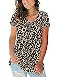 Womens Cute Short Sleeve Shirts Plus Size Tops Leopard Print Tunic Tops XXL