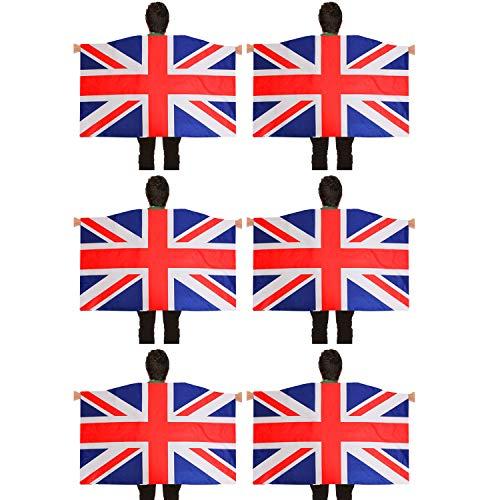Disfraz de bandera britnica para adultos, accesorio para eventos deportivos y das nacionales (6 unidades)