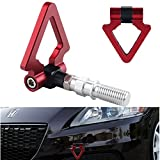 DEWHEL JDM Racing Aluminum Triangle Tow Hooks Eyes Front Rear Japanese Car Auto Trailer for 09-13 Honda Fit Red