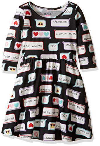 The Children's Place Girls' Long Sleeve Casual Dresses, Multi Color 7766, 18-24 Months