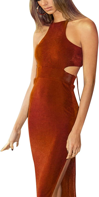 Women's Sexy Halter Neck Spaghetti Strapless Backless Lace Up Bodycon Split Midi Dress S-L