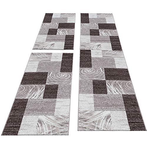 HomebyHome Moderner Design Konturschnitt Teppich Läufer Set Schlafzimmer Braun Beige Weiss, Bettset:2 x 80x150 cm + 1 x 80x300 cm