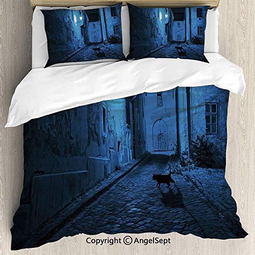 Juego de sábanas de 3 piezas Juego de funda nórdica, Black Cat Crossing Deserted Street at Night Mysterious Old European Town Alley, 1 funda de edredón 2 fundas de almohada, azul negro blanco