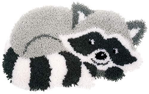 Vervaco Formteppich Waschbär Knüpfpackung zum Selbstknüpfen eines Teppichs, Stramin, weiß, 55 x 32 x 0,3 cm