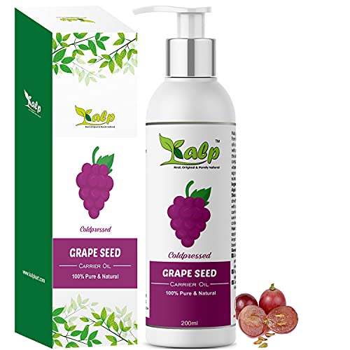 Kalp® GrapeSeed Carrier Oil - Cold pressed For Beautiful Hair Growth, Skin, Face, Massage & Skin lightening (200ml)