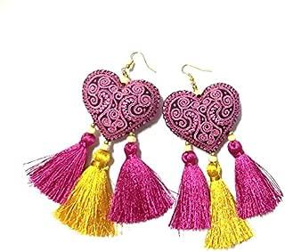 Earrings by WP Colorful Heart Tassel Handmade Earrings For Girl Women Gifts