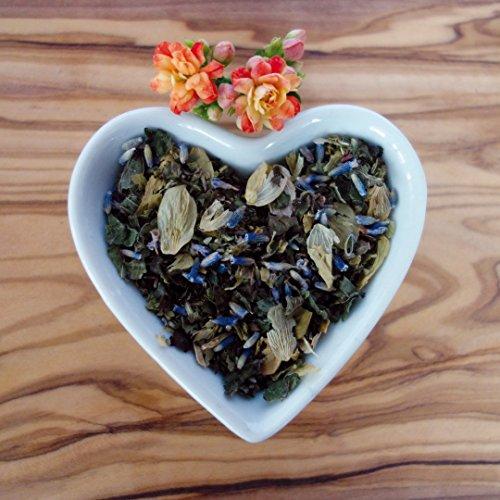 Abendruhe von Naturherz - Beruhigender Bio Cistus Tee-Mix mit wohltuender Melisse, Hopfen und sanftem Lavendel 80g