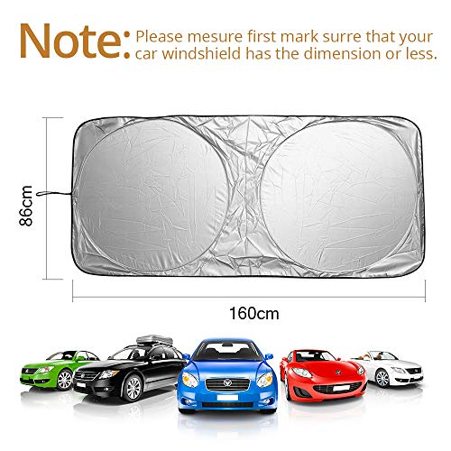 Large 63 x 33 inches Keep Your Vehicle Cool Foldable Car Front Window Sunshade Blocks Max UV Rays Sun Visor Protector Universal Fit for Most Car SUV Truck KKTICK Windshield Sun Shade