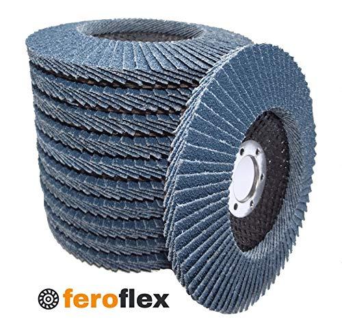 20 Stück Feroflex® Profi-Qualität Fächerscheiben Lamellenscheiben Schleifscheiben Schleifmopteller 125 mm Korn 40