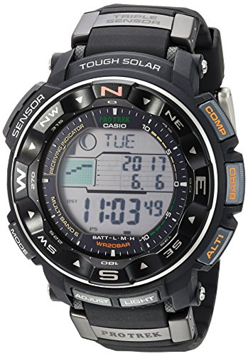 Casio Men's PRO TREK Stainless Steel Japanese-Quartz Watch with Resin Strap, Black, 17 (Model: PRW-2500R-1CR)