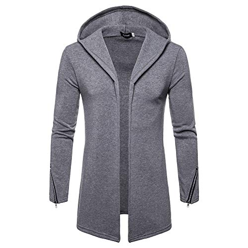 Great Features Of NEARTIME Men's Long Sleeve Hooded Cardigan Solid Trench Coat Jacket Outwear Men's ...