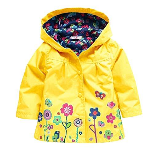 LZH Casaco Floral Impermeável com Capuz para Bebê Menina Infantil Jaqueta Capa de Chuva
