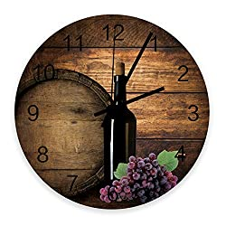 Wood Round Wall Clock 12 Inch, Rustic Fruits Grape and Wine Barrel, Silent Non-Ticking Quartz Battery Operated Wall Clocks, Wooden Texture for Home/School/Office Decor
