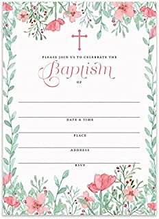 Girl Baptism Invitations with Envelopes (Pack of 25) Pink Floral Christening Invite Large 5x7