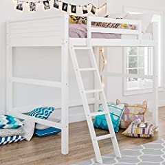 Traditional small spaces design Full size loft bed Small spaces design Solid panel headboard and footboard Sturdy wood Construction with a White Finish Also available in an Espresso Finish