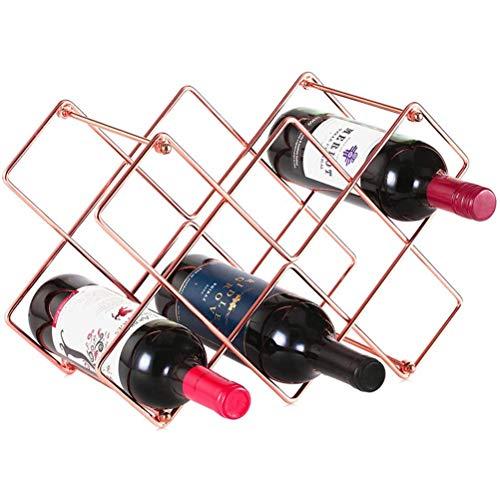 Aiglen Estante para Vino, Estante para Vino de Metal, Soporte para Botellas de encimera para Vino Blanco Tinto, Estante para champán de pie, para despensa, Barra casera (Size : 8 Cells)